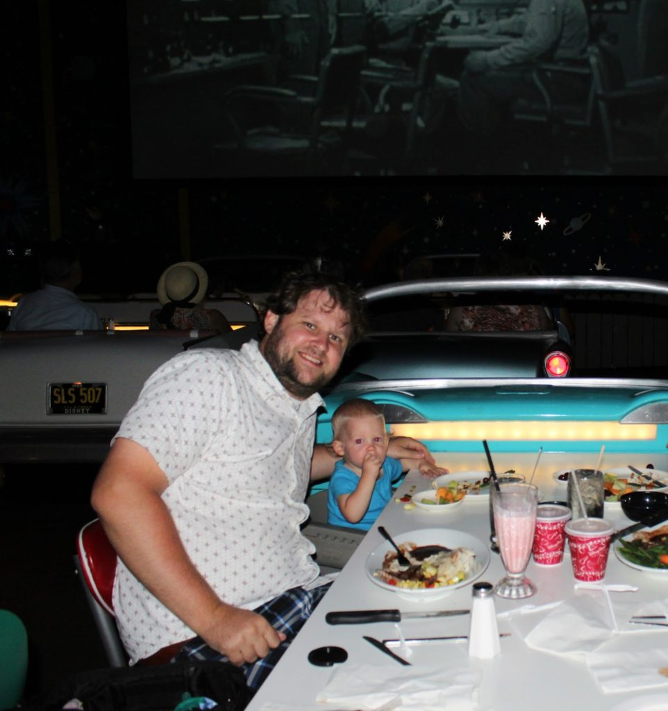 Sci-Fi Theater and Dine-In Restaurant, Hollywood Studios, Walt Disney World, Florida, Orlando, Disney Dining Plan, Dinner, Traveling with kids, Family Travel, Diapers on a plane