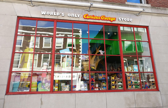 Curious George Toy Store, World's Only Curious George Toy Store, diapersonaplane, Diapers On A Plane, traveling with kids, family travel, creating family memories, boston, massachusetts, cambridge, toys, shopping, toy store, monkey