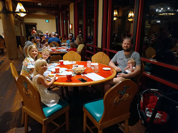 Whispering Canyon Cafe, Wilderness Lodge, Walt Disney World, Diapers On A Plane, traveling with kids, family travel