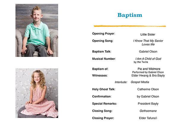 Twins Baptism Day Program