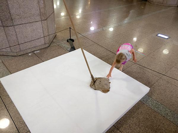 Dirty Mop Art in Subway in Korea