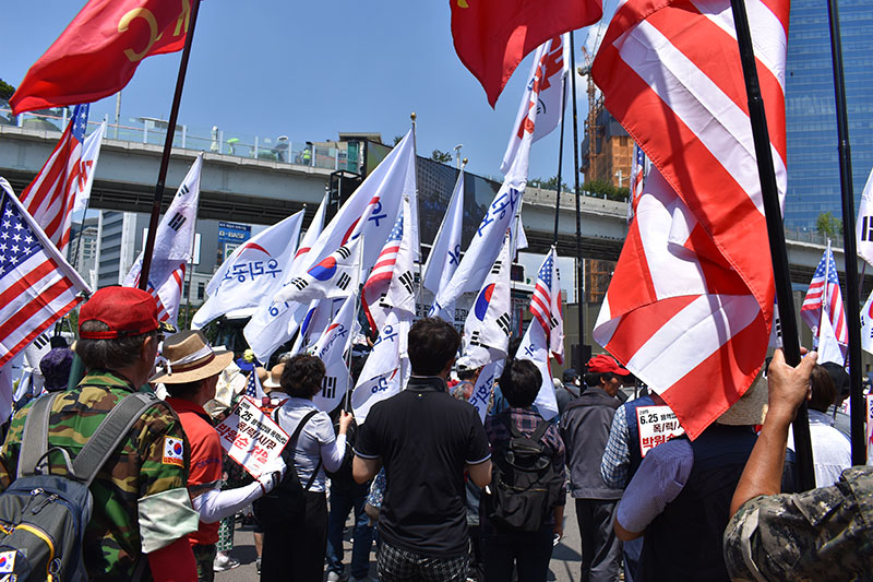 Worldschooling Free Speech at Protest in South Korea
